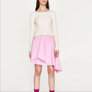 Pink Asymmetrical Ruffle Skirt